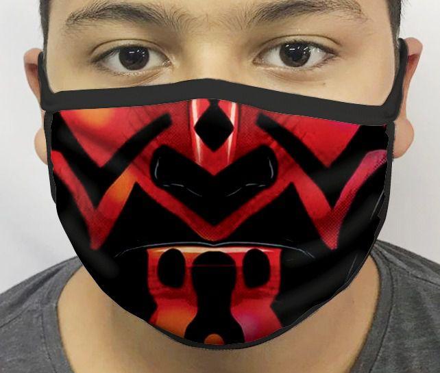 Máscara de Tecido Personalizada Boca Vilão Vermelho Guerra nas Estrelas Reutilizável