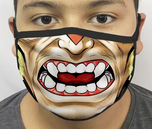 Máscara de Tecido Personalizada Boca Dente de Sabre Reutilizável - EV