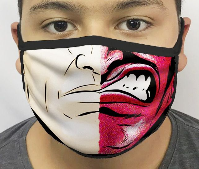 Máscara de Tecido Personalizada Boca Inimigo Morcego 2 Reutilizável