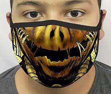 Máscara de Tecido Personalizada Boca Espantalho Reutilizável - EV