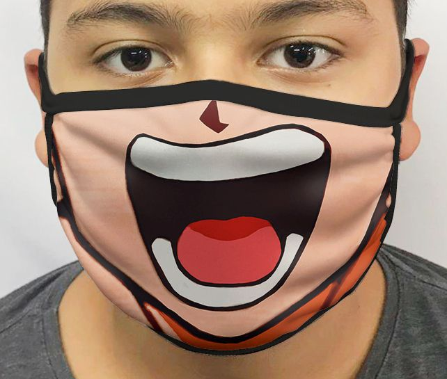 Máscara de Tecido Personalizada Boca Goku 3 Reutilizável - EV