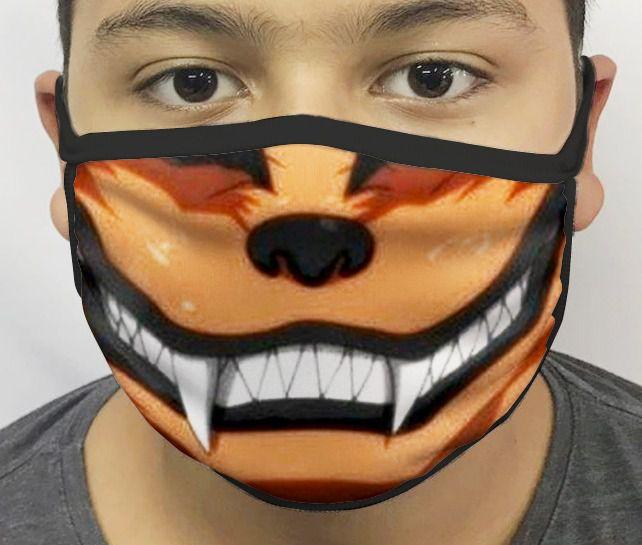 Máscara de Tecido Personalizada Boca Kurama Raposa de Sete Caldas Reutilizável - EV