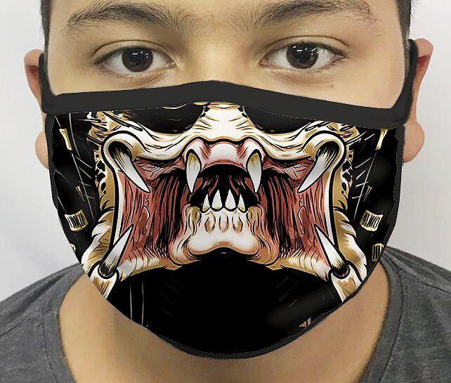 Máscara de Tecido Personalizada Boca Predador Reutilizável - EV