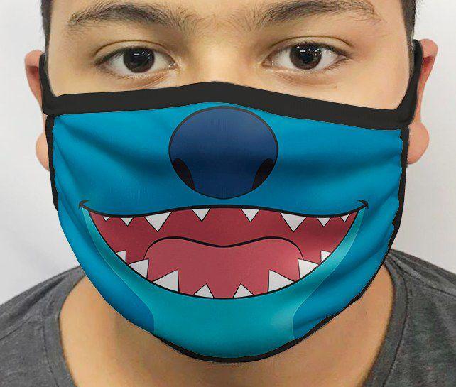 Máscara de Tecido Personalizada Boca Alien Azul Reutilizável - EV