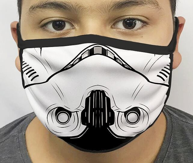 Máscara de Tecido Personalizada Boca Soldado Guerra nas Estrelas Reutilizável