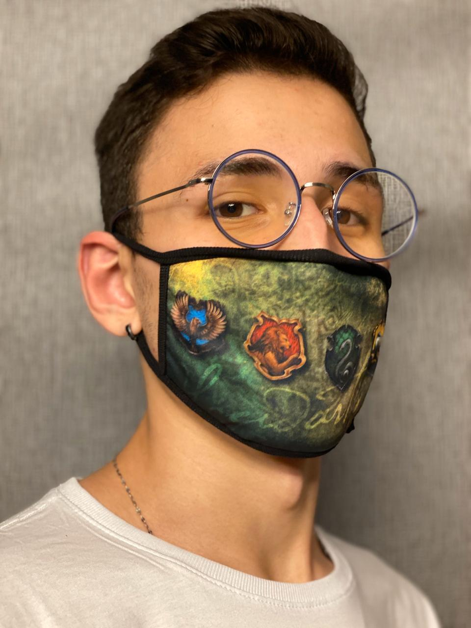 Máscara de Tecido Personalizada Casas Escola de Magia Lavável Reutilizável - EV