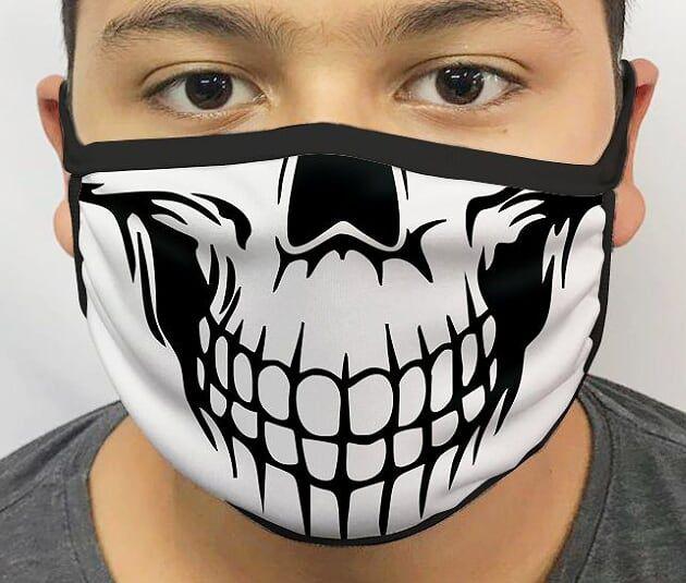 Máscara de Tecido Personalizada Caveira Lavável Reutilizável