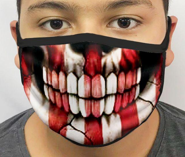 Máscara de Tecido Personalizada Caveira Listrada Lavável Reutilizável - EV