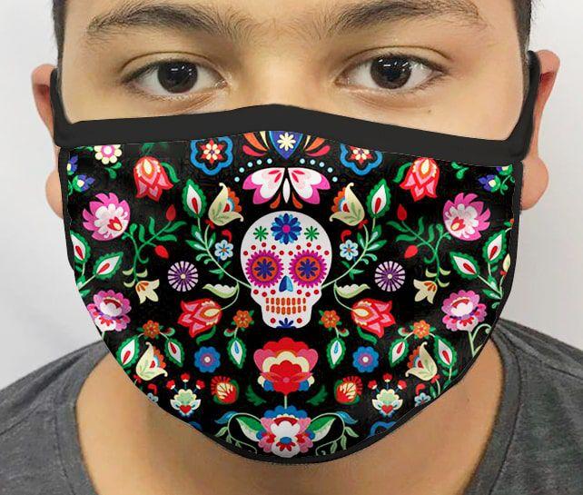 Máscara de Tecido Personalizada Caveira Mexicana Lavável Reutilizável - EV