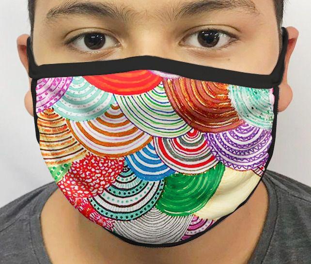 Máscara de Tecido Personalizada Círculos Coloridos Lavável Reutilizável - EV