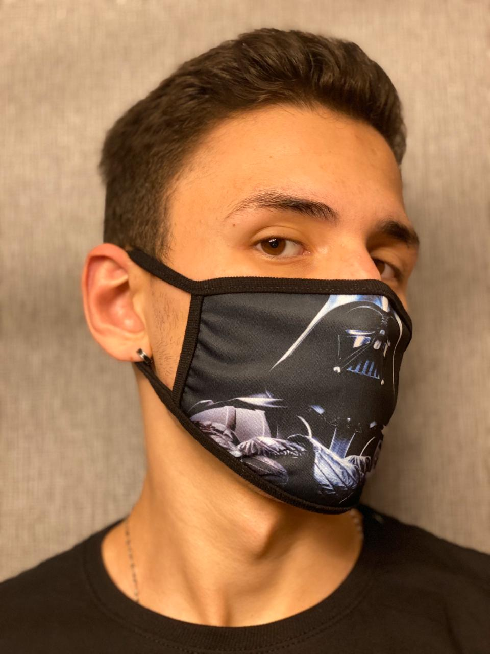 Máscara de Tecido Personalizada Vilão Lado Negro da Força Lavável Reutilizável
