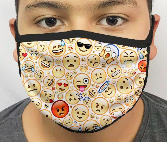 Máscara de Tecido Personalizada Emojis Lavável Reutilizável - EV