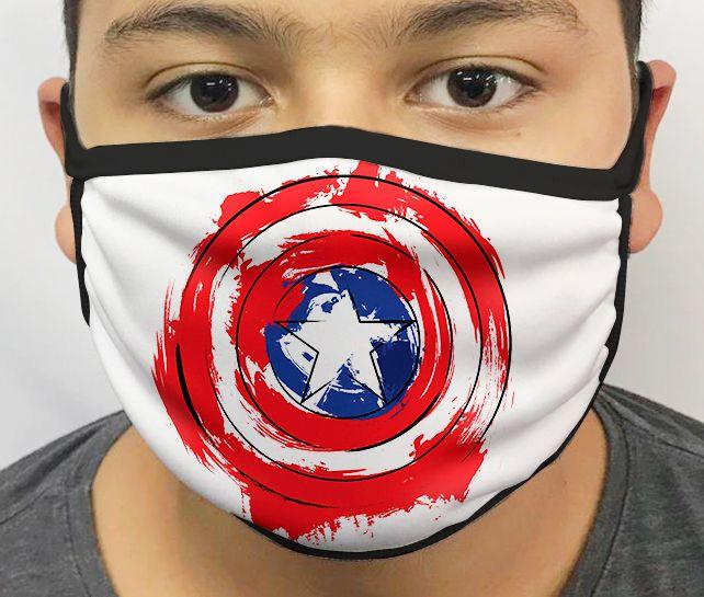 Máscara de Tecido Personalizada Escudo Capitão Lavável Reutilizável - EV