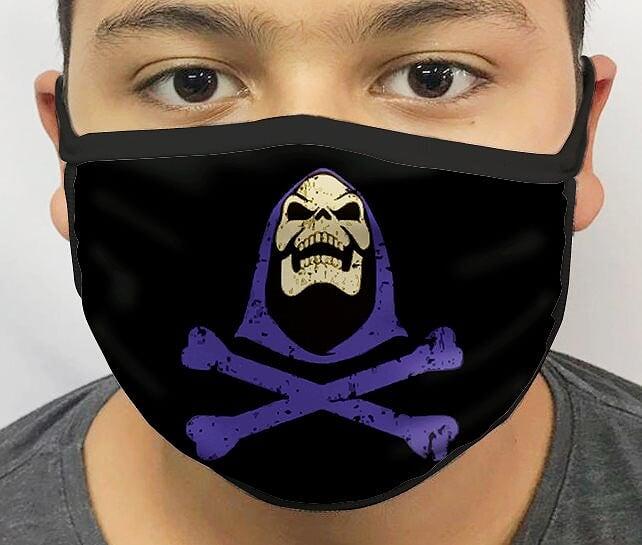 Máscara de Tecido Personalizada Esqueleto (He-Man) Lavável Reutilizável - EV