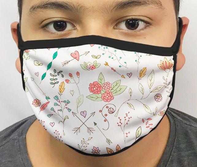 Máscara de Tecido Personalizada Flores desenhos Lavável Reutilizável - EV
