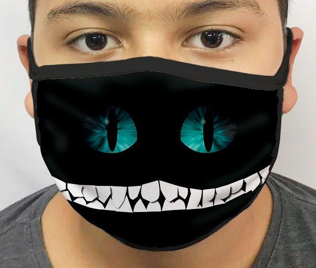 Máscara de Tecido Personalizada Gato Que Ri (Cheshire Cat): Alice no País das Maravilhas (Alice in Wonderland) Lavável Reutilizável - EV