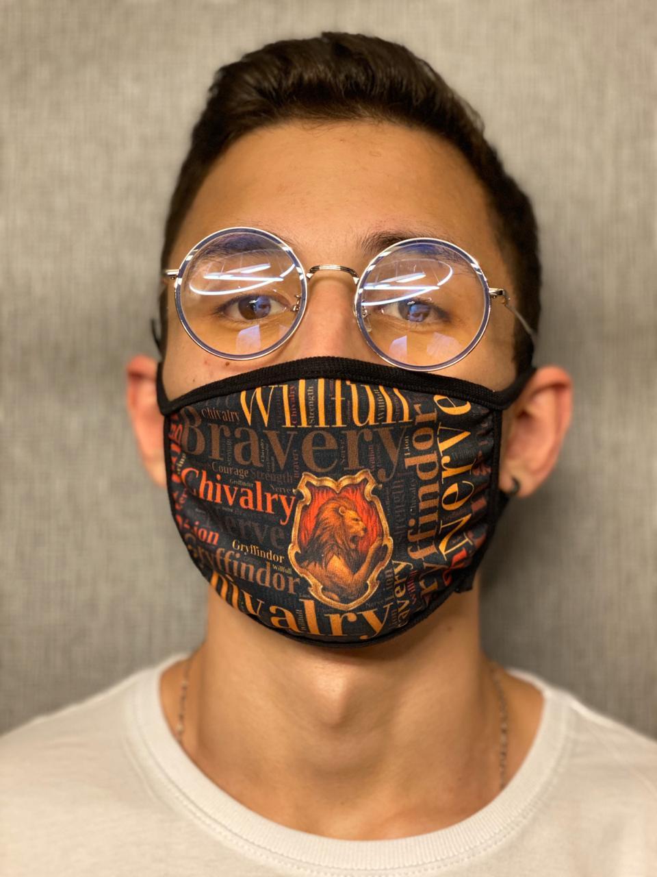 Máscara de Tecido Personalizada Time da Escola de Magia Lavável Reutilizável - EV