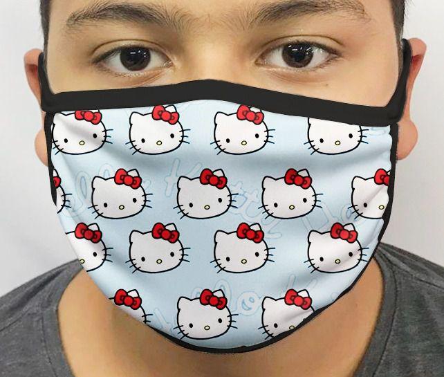 Máscara de Tecido Personalizada Hello Kitty Lavável Reutilizável - EV