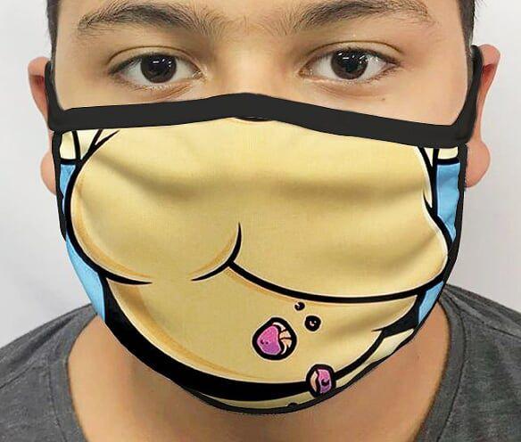 Máscara de Tecido Personalizada Homer (Detalhe Boca) Lavável Reutilizável - EV