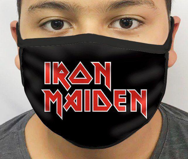 Máscara de Tecido Personalizada Iron Maiden Lavável Reutilizável - EV