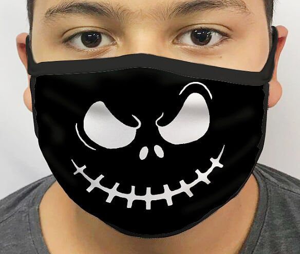 Máscara de Tecido Personalizada Jack Esqueleto (Preto) Lavável Reutilizável - EV