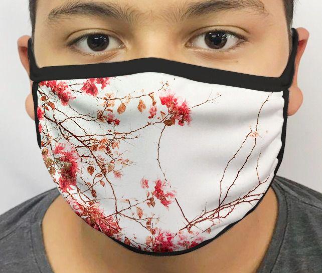 Máscara de Tecido Personalizada Jardim Japonês Lavável Reutilizável