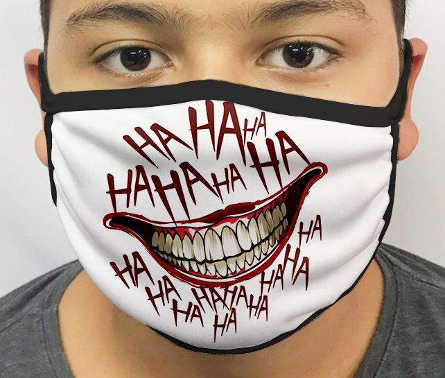 Máscara de Tecido Personalizada Palhaço (Hahaha Branco) Lavável Reutilizável
