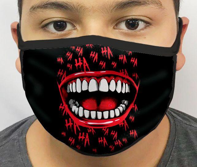 Máscara de Tecido Personalizada Palhaço (Hahaha Preto) Lavável Reutilizável - EV