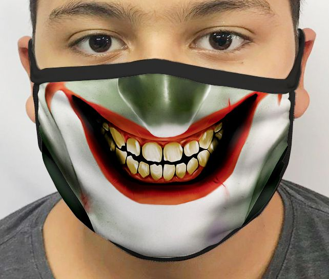 Máscara de Tecido Personalizada Palhaço (Nariz Verde) Lavável Reutilizável - EV