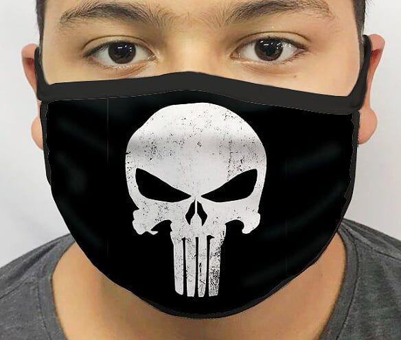 Máscara de Tecido Personalizada Justiceiro (Preto) Lavável Reutilizável - EV