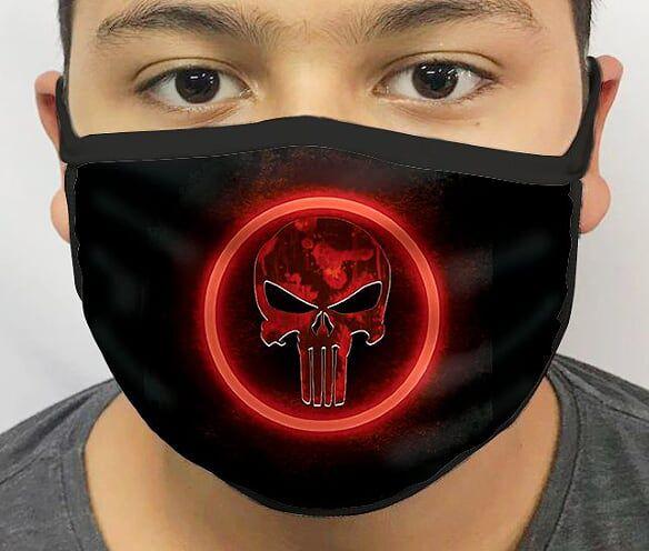 Máscara de Tecido Personalizada Justiceiro (Vermelho) Lavável Reutilizável - EV