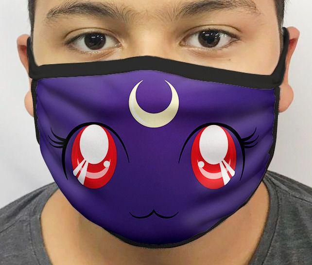 Máscara de Tecido Personalizada Lua (Luna): Sailor Moon Lavável Reutilizável - EV