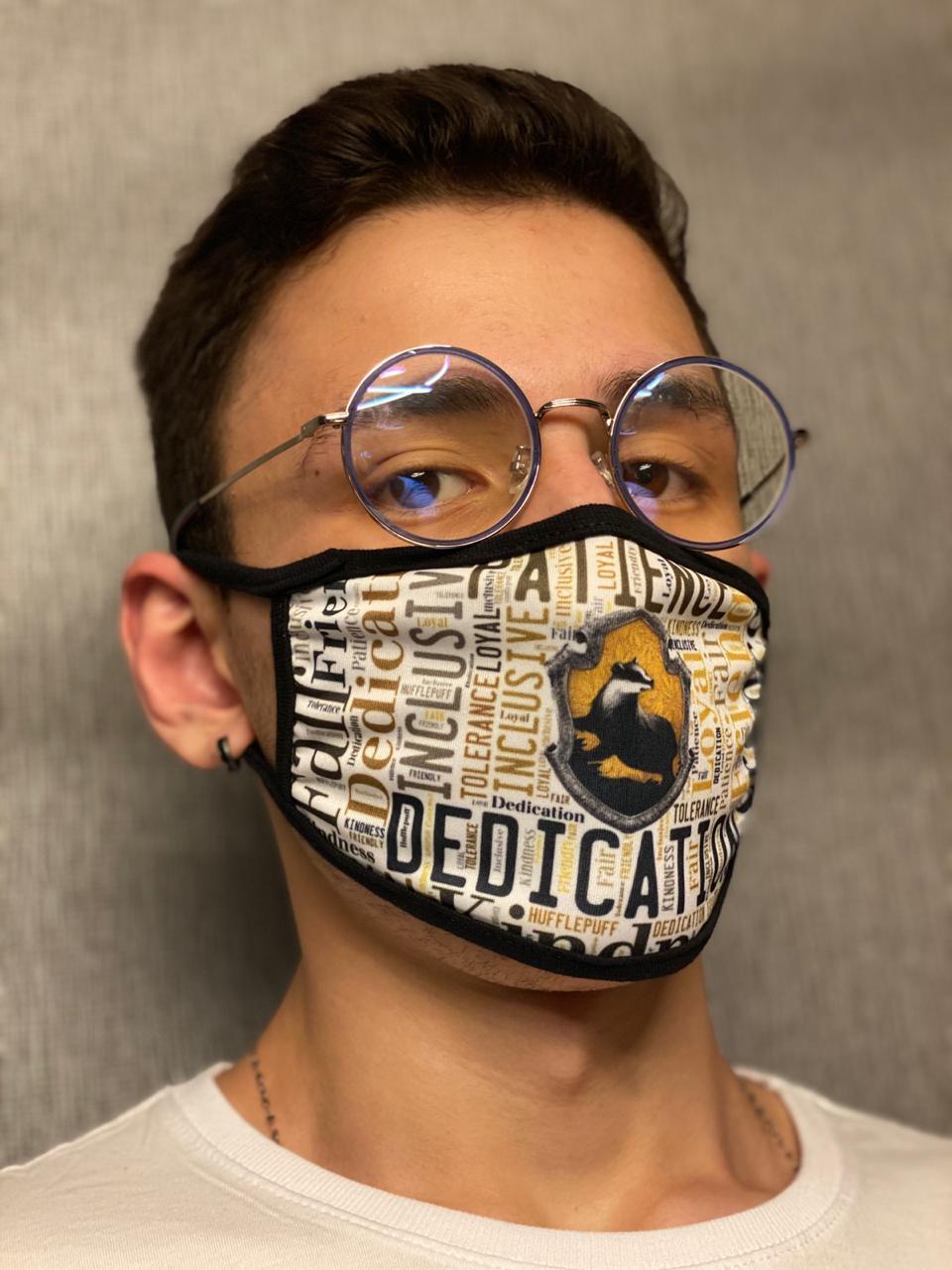 Máscara de Tecido Personalizada Time Escola de Magia Lavável Reutilizável - EV