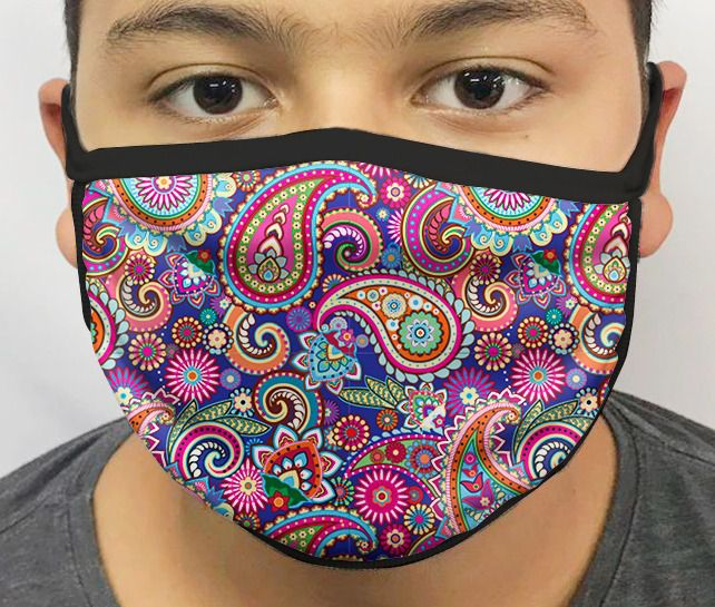 Máscara de Tecido Personalizada Mandalas Coloridas modelo 2 Lavável Reutilizável - EV