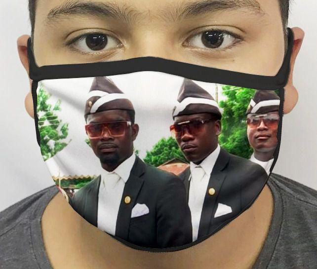Máscara de Tecido Personalizada Meme do Caixão Lavável Reutilizável - EV