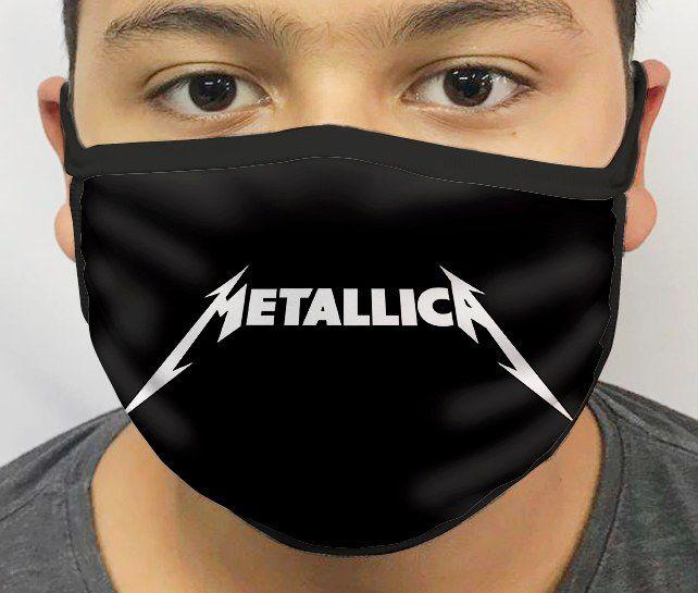 Máscara de Tecido Personalizada Metallica Lavável Reutilizável