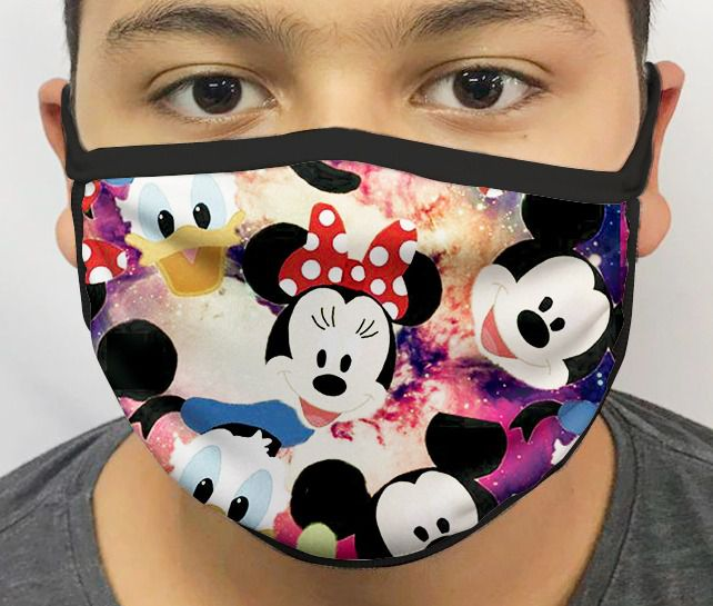 Máscara de Tecido Personalizada Ratinho & Amigos Lavável Reutilizável - EV