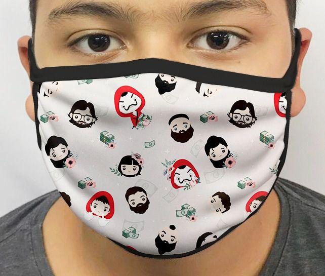Máscara de Tecido Personalizada Mini Personagens: La Casa de Papel Lavável Reutilizável - EV