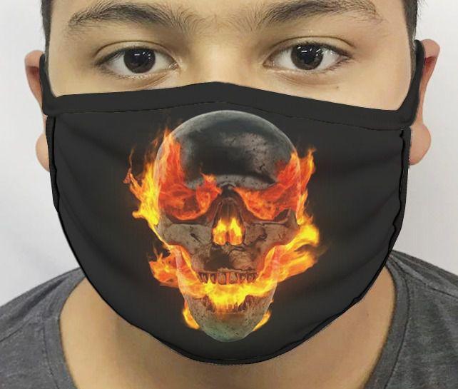 Máscara de Tecido Personalizada Motoqueiro Fantasma Lavável Reutilizável - EV