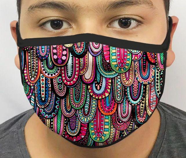 Máscara de Tecido Personalizada Ovais Coloridas Lavável Reutilizável - EV