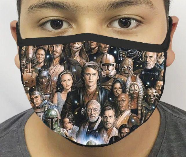 Máscara de Tecido Personalizada Personagens Guerra nas Estrelas Reutilizável - EV