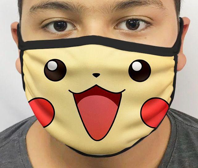 Máscara de Tecido Personalizada Pikachu: Pokemon Lavável Reutilizável - EV