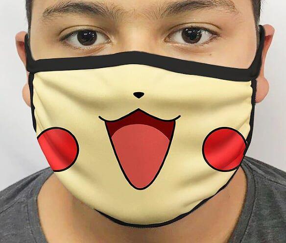 Máscara de Tecido Personalizada Pikachu Lavável Reutilizável