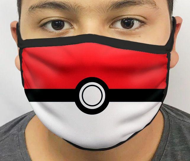 Máscara de Tecido Personalizada Pokebola Pokemon Lavável Reutilizável - EV