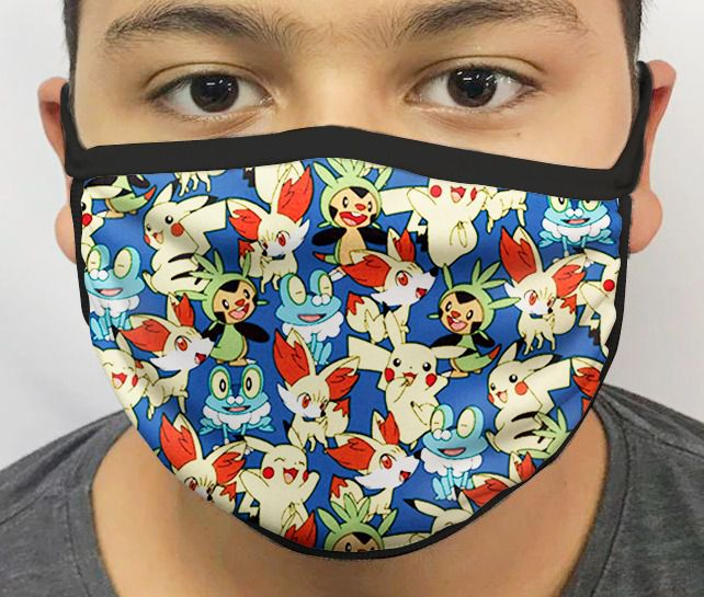 Máscara de Tecido Personalizada Pokemon Lavável Reutilizável - EV