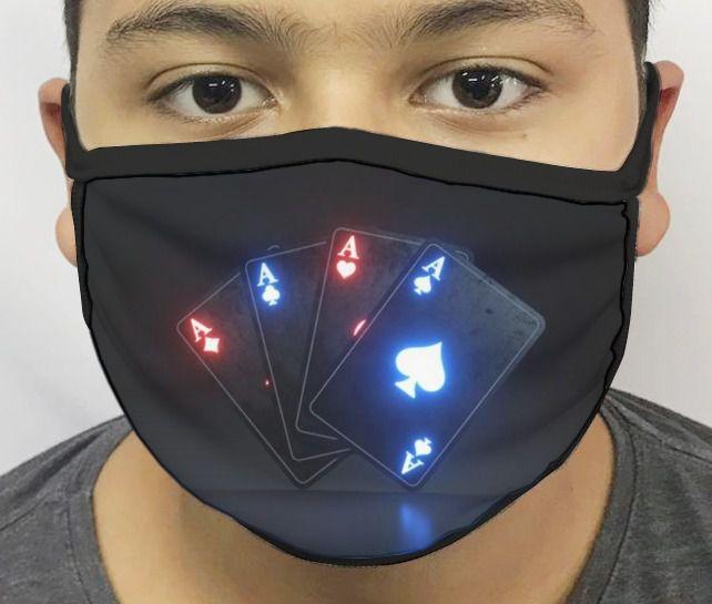 Máscara de Tecido Personalizada Poker (Ás) Reutilizável - EV