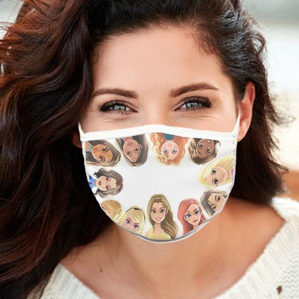 Máscara de Tecido Personalizada Princesas Reutilizável - EV