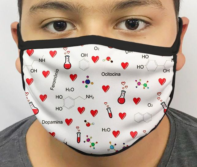 Máscara de Tecido Personalizada Química do Amor Lavável Reutilizável - EV