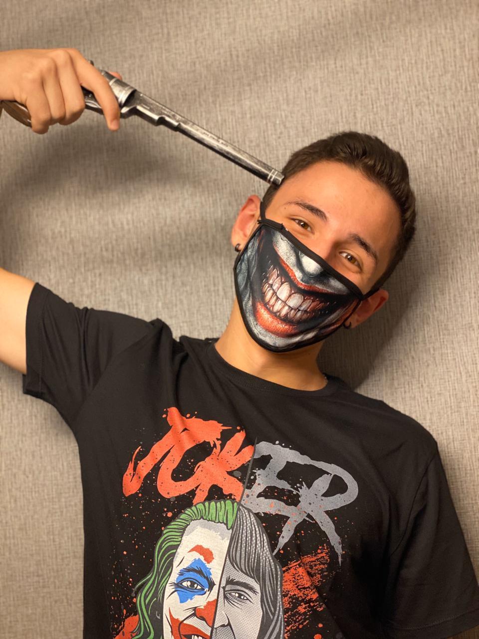 Máscara de Tecido Personalizada Risada Palhaço Lavável Reutilizável - EV