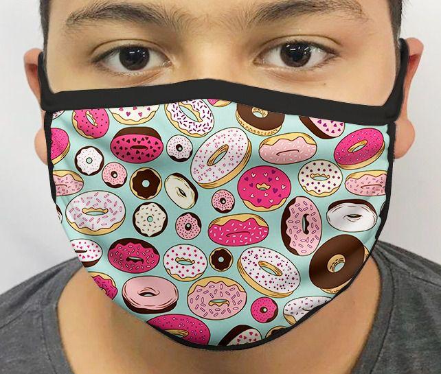 Máscara de Tecido Personalizada Rosquinhas (Donuts) Lavável Reutilizável - EV